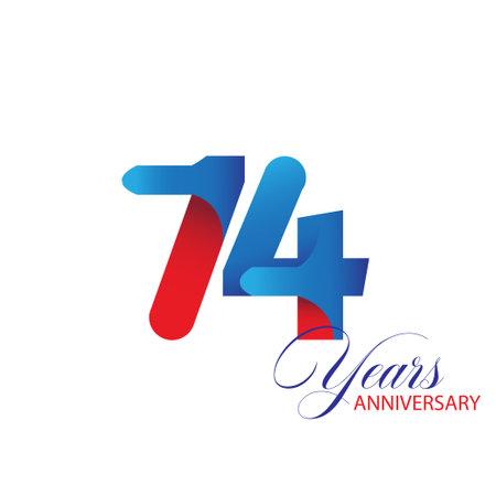 74 Year Anniversary celebration Vector Template Design Illustration