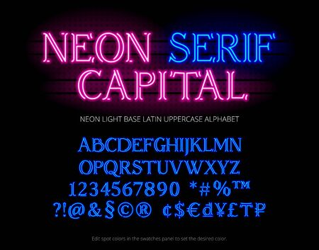 Neon tube alphabet typeface. Letters, numbers, special symbols, symbols and currency sign. Base latin uppercase type set. english ABC.
