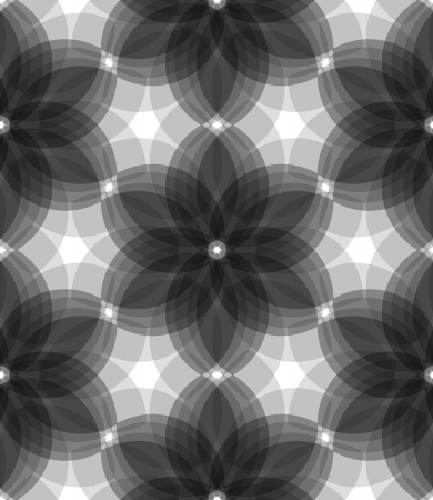 Seamless floral background with transparent monochrome geometric flowers. Vector