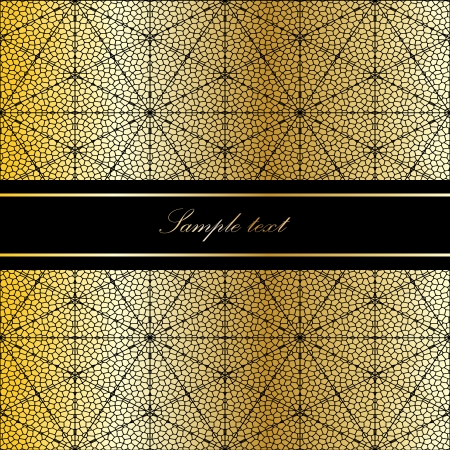 Vintage card on gold mosaic background. Vector