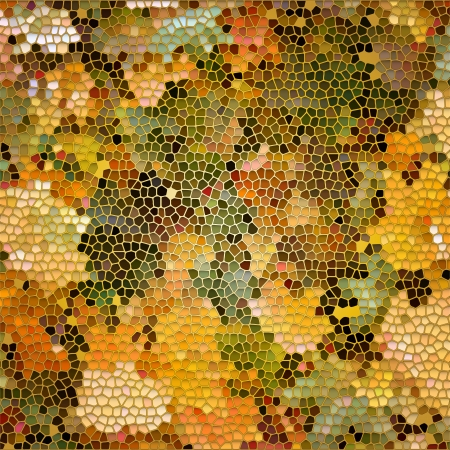 Stained glass like background with autumn leaves mosaic and gold frame. Vector