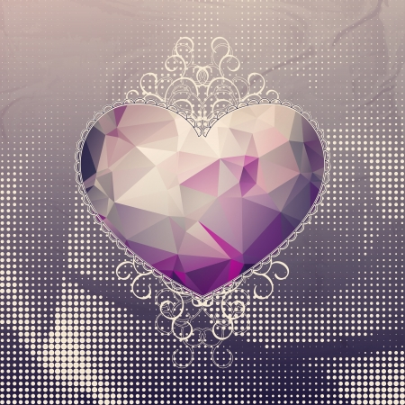 Retro violet heart with hipster triangle pattern and elegant ringlets on dots geometric background. Vector