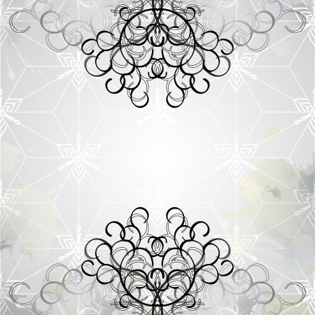 Delicate graphic background with light graphic pattern, refined black curly lines and fully editable splashes along the edges. Vector