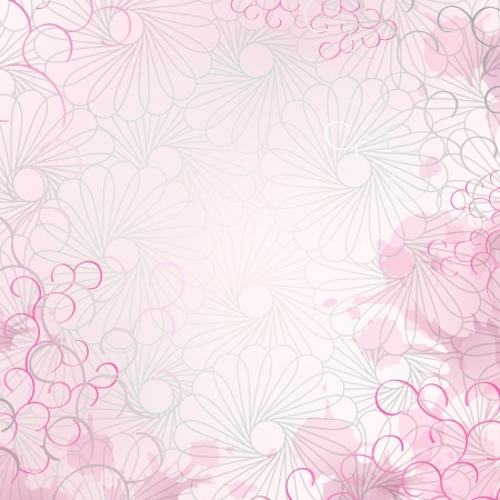 Soft and romantic letter or invitation pink background with floral graphics, curly lines and splashes. Fully editable spots and ringlets along the edges. Vector