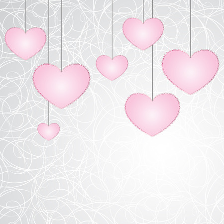 Hanging seven pink hearts with laconic lace-like outline on graphic stylized art cobweb background. Vector