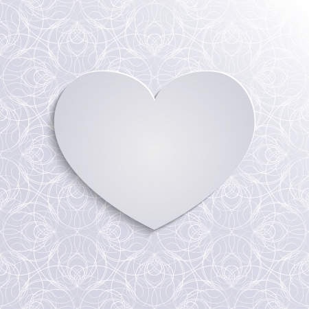 Big heart with laconic lace-like background, 3d paper valentine's day template. Vector
