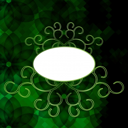 Elegant vintage card or invitation with transparent flowers on green squared background. Vector