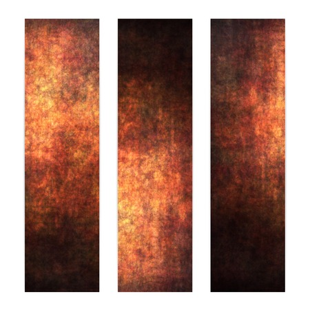 Set of three vertical banners, abstract dark gold textured background. photo