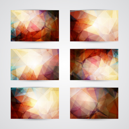 Set of cards with abstract geometric shining red, yellow and green polygonal pattern. Vector