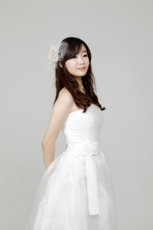 koreans: Lovely girl dressed in white short dress