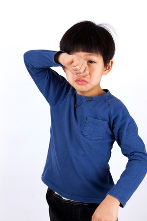 children sad: A portrait of a cute asian boy