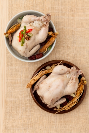 chicken soup: ginseng chicken soup Stock Photo