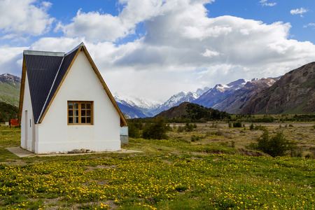 chalten: lonely house in mountains, el chalten, patagonia, argentina