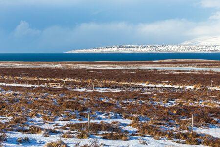 Iceland weather and icelandic landscape, winter in Iceland, sunny day in winter, icelandic bayshore Stock Photo