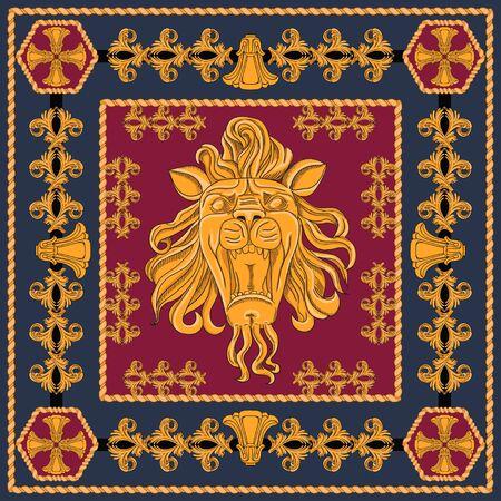 A scarf with a big lion head in a golden color. Separate elements on a black and claret background. Image in modern style. Ilustrace