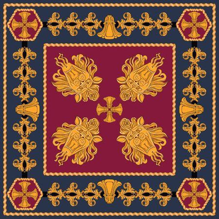 A scarf with a pattern of gold heads of lions and abstract elements in the Art Nouveau style. Separate elements on a black and claret background. Ilustração