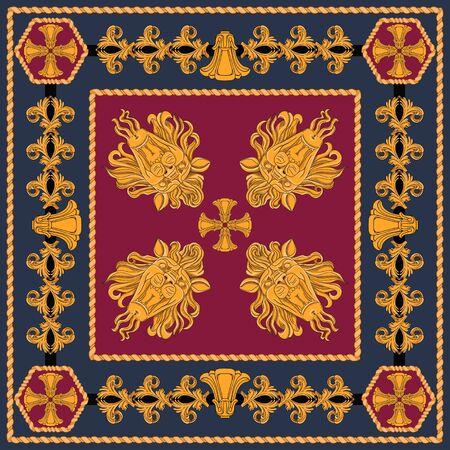 Una sciarpa con un motivo di teste di leone in oro ed elementi astratti in stile Art Nouveau. Elementi separati su uno sfondo nero e bordeaux.