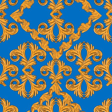 Seamless Pattern Golden Vintage Pattern Blue Background