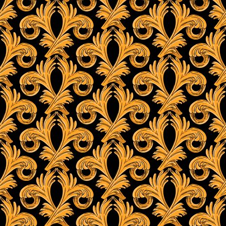 Seamless pattern with vertical golden vintage pattern. Golden pattern on a black background.