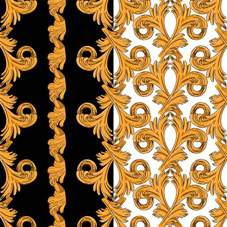 Seamless pattern with vertical golden patterns. Pattern on a black and white background.