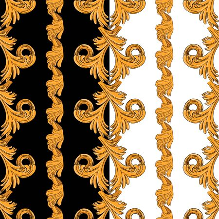 Seamless pattern with vertical golden patterns. Vertical pattern on a black and white background.