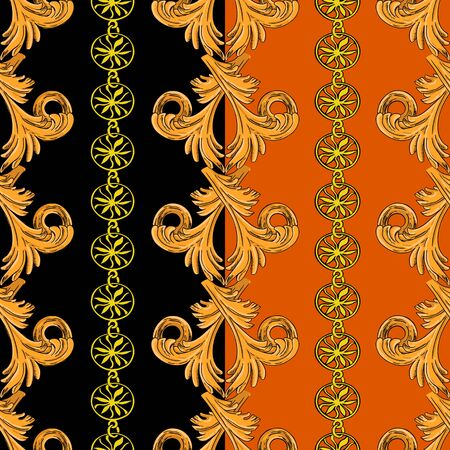 Seamless pattern with vertical golden patterns and chains. Pattern on a black and orange background.