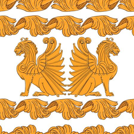 Seamless pattern of images of golden lions in art nouveau style. Çizim