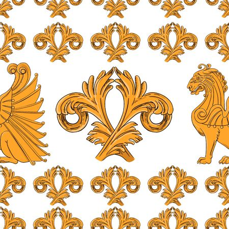 Seamless pattern of golden winged lions with an ornament on a white background.