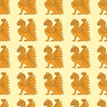 Seamless pattern with the image of winged golden lions on a yellow background