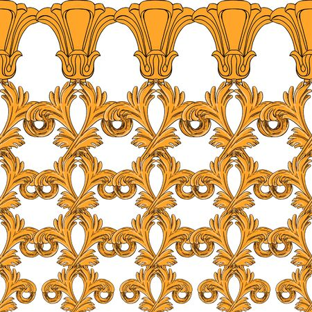 Seamless pattern of gold flowers and vintage details in modern style. Gold elements on a white background.  イラスト・ベクター素材