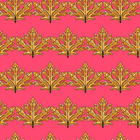 Seamless pattern of golden leaves on a coral background. Individual items.
