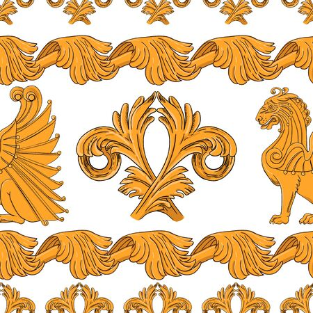 Seamless pattern of golden winged lions with ornament.  Horizontal pattern.