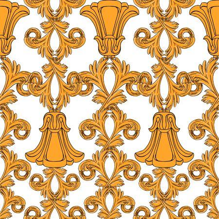 Seamless pattern of gold flowers and vintage details in modern style. Zdjęcie Seryjne - 131296353