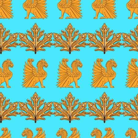Seamless pattern of golden winged lions and leaves on a blue background.