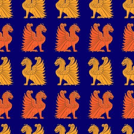 Seamless pattern with the image of winged lions on a blue background