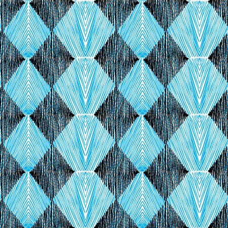 Seamless pattern of geometric shapes. The rhombus are shaded with black and blue shading.