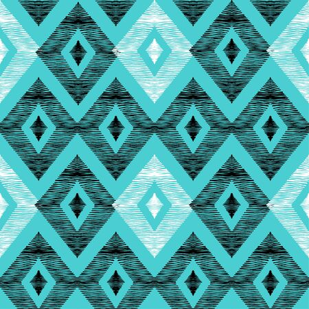 Seamless pattern of rhombuses. Pattern in the style of ethno. Rhombus shaded by hand. Illusztráció