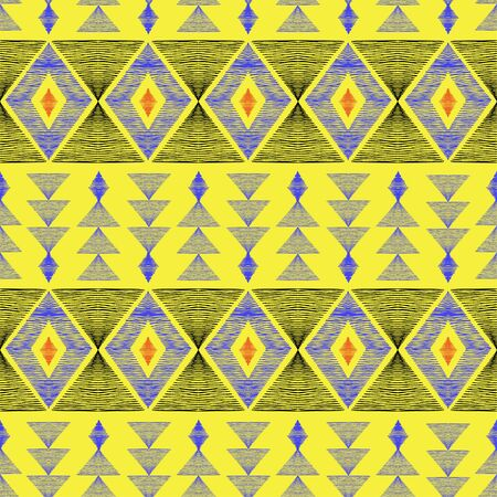 Seamless pattern of rhombuses and triangles. Pattern in the style of ethno. Rhombus and hand-shaded triangles.