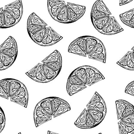 Seamless pattern with the image of the slices of lemons. Black and white image. Ink drawing. Vector.