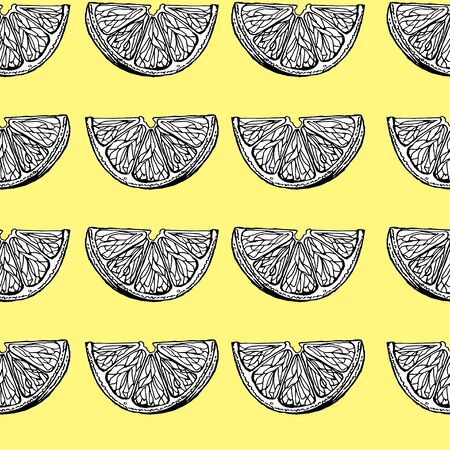 Seamless pattern with the image of the slices of lemons on a yellow background. Vector. Çizim