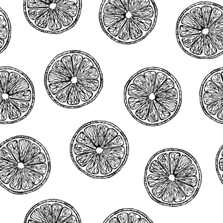 Seamless pattern with the image of slices of lemons. Black and white image. Vector.