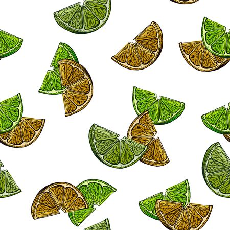 Slices of lemon and lime. The image is drawn in ink. Seamless background for different surfaces.