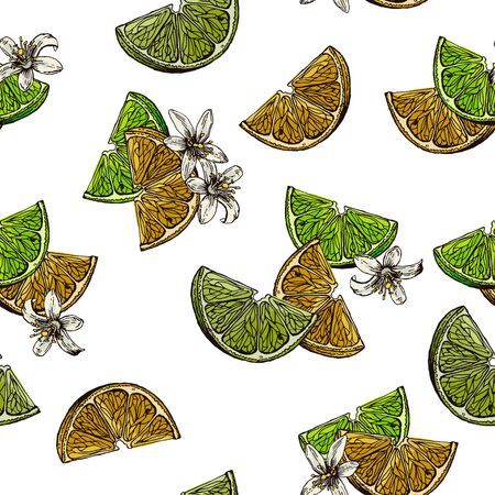Slices and flowers of lemon and lime. The image is drawn in ink. Seamless background for different surfaces.