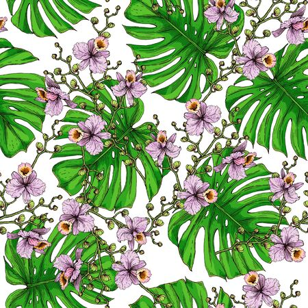 Seamless pattern of monstera leaves. Separate green leaves of Monstera and pink orchid flowers on a white background.