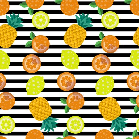 Tropical fruit seamless pattern. Pineapples, oranges, lemons and their slices on a striped background. Иллюстрация