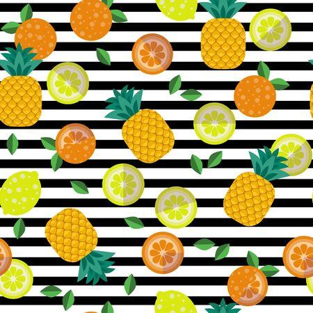 Tropical fruit seamless pattern. Pineapples, oranges, lemons on a striped background. Иллюстрация
