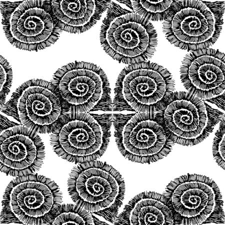Seamless pattern of abstract rounded squares. Sketch pattern. The pattern is drawn in black ink. Ilustração