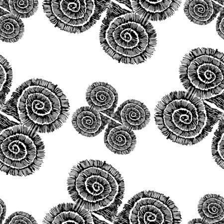 Seamless pattern of abstract rounded squares. Sketch pattern. The pattern is drawn in ink.