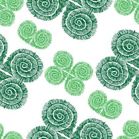 Seamless pattern of abstract green squares. Sketch pattern.