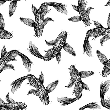 Sketch of a picture of floating fish. The picture is made by hand in black ink.